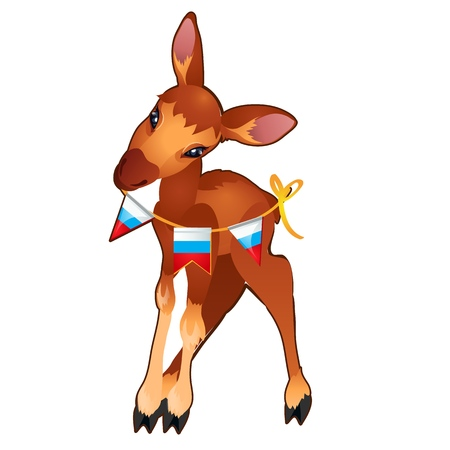 Cute young forest deer holding a garland of flags painted in the style of the Russian tricolor isolated on white background. Vector cartoon close-up illustration Illustration