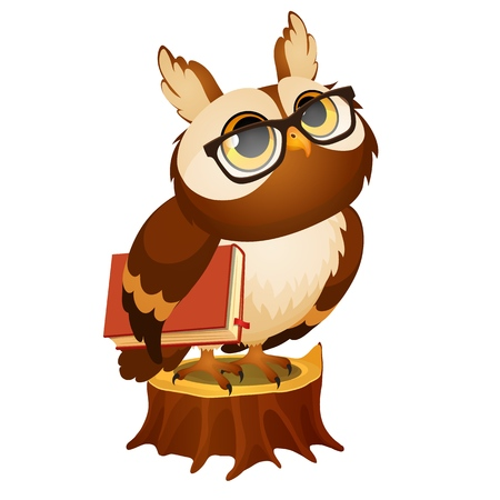 Wise owl with a book stands on a stump isolated on white Vectores