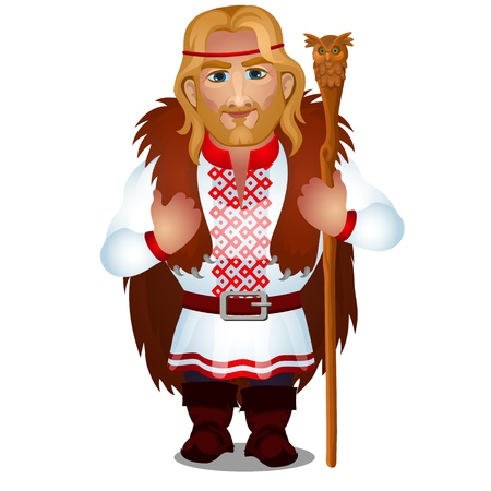 Slavic man in embroidered shirt or vyshyvanka with bear skin and a magic staff isolated on white background. Vector cartoon close-up illustration