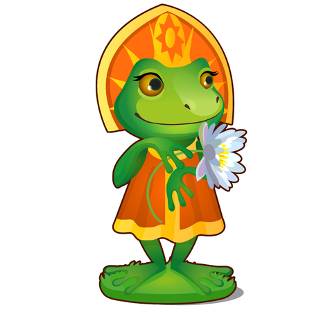 Animated Princess frog in clothes isolated on white background. The character of Russian folk tales. Vector cartoon close-up illustration Illustration