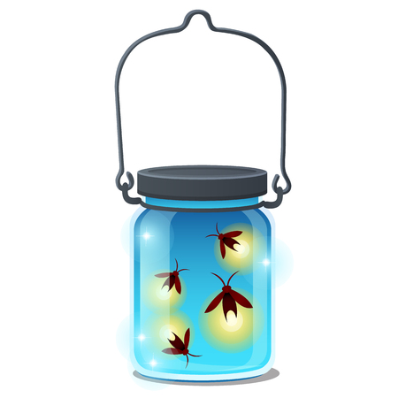 Glass transparent jar with glowing insects isolated on white background. Vector cartoon close-up illustration Illusztráció