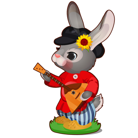 Animated hare with hat and Russian balalaika in clothes isolated on white background. The character of Russian folk tales. Vector cartoon close-up illustration