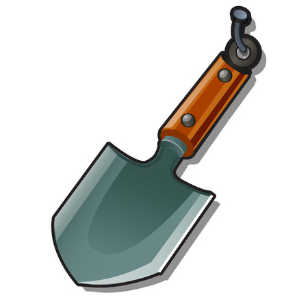 A small shovel hanging on a nail isolated on a white background. Cartoon vector close-up illustration