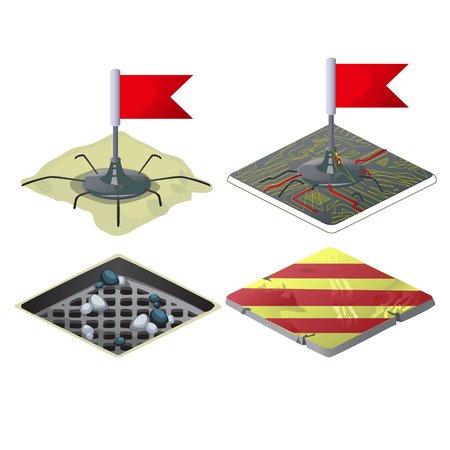 Set of checkpoints with red flags isolated on white background. Vector cartoon close-up illustration Illustration