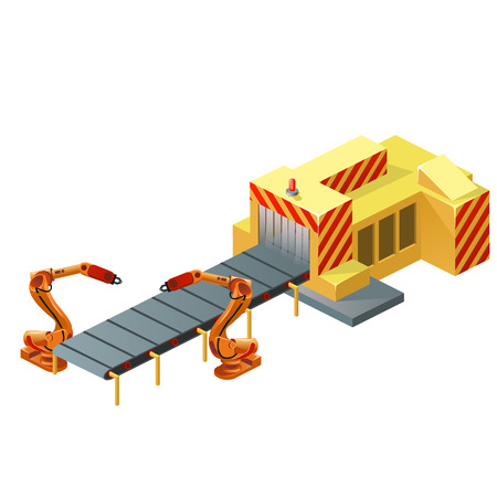 Robotic conveyor belt isolated on white background. Vector cartoon close-up illustration