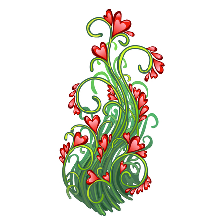 Fancy a herbaceous plant with flowers in the shape of hearts isolated on white background. Red heart symbol of Valentines day holiday lovers. Vector cartoon close-up illustration
