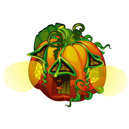 Fairy house in form of ripe pumpkin with glowing windows isolated on white Illustration