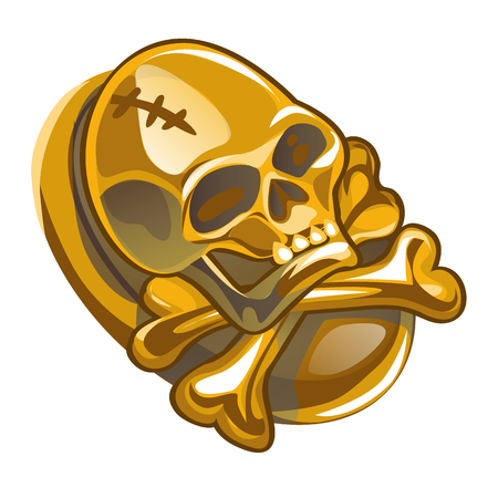 Gold pirate symbol in the form of human skull and crossbones isolated on white background. Vector cartoon close-up illustration Illustration