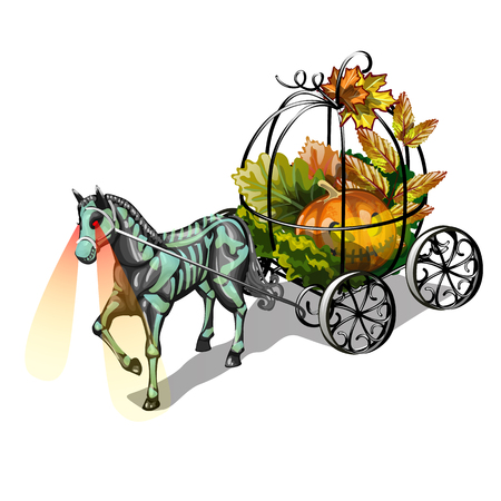 Festive decoration for Halloween isolated on white background. The horse with glowing eyes and a forged metal carriage with a Jack-o-lantern. Vector cartoon close-up illustration