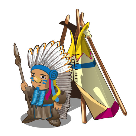 Indian tent or wigwam teepee and Indian man with spear isolated on white background. Vector cartoon close-up illustration Illustration