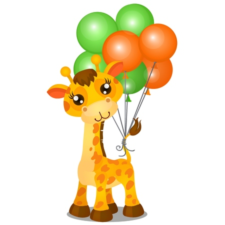 Cute toy giraffe and inflatable colorful balls tied to the tail isolated on white background. Vector cartoon close-up illustration Illustration