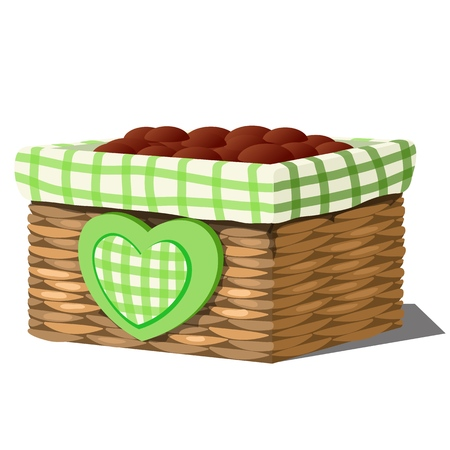 Stylish flower pot in the form of a wicker basket with soil isolated on white background. Vector cartoon close-up illustration Illustration
