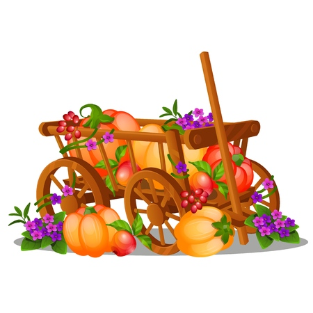 The wooden cart is filled with a harvest of ripe fruits and vegetables isolated on white background. Vector cartoon close-up illustration Çizim