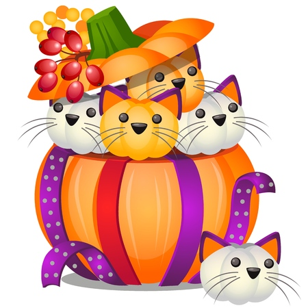DIY pumpkin in the form of small kittens isolated on white background. Vector cartoon close-up illustration Çizim