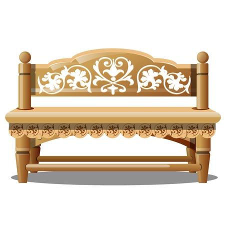 Elegante Holzbank mit geschnitzten Mustern auf weißem Hintergrund. Vektor-Cartoon-Nahaufnahme