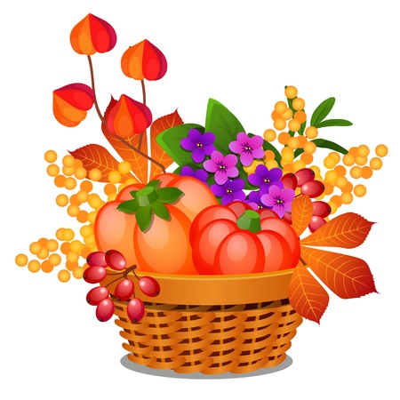 Composition in the form of a wicker basket filled with ripe vegetables, fruits of physalis or winter cherry and autumn leaves isolated on white background. Vector cartoon close-up illustration