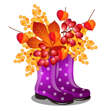 Composition of rubber purple boots and dry autumn leaves isolated on white background. Vector cartoon close-up illustration