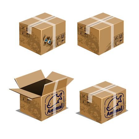 Set of carton boxes for transporting animals isolated on white background. Vector cartoon close-up illustration