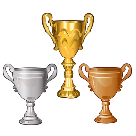 Set of golden, silver and bronze cups isolated on white background. Vector cartoon close-up illustration