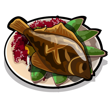 Baked flounder on a plate with vegetables. The restaurant signature dish isolated on a white background. Food a healthy diet. Vector cartoon close-up illustration