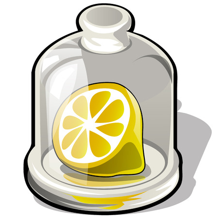 Cut half of a fresh lemon under a glass dome isolated on white background. Vector cartoon close-up illustration