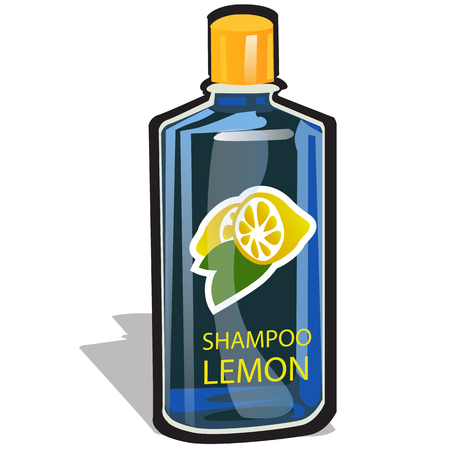 Plastic bottle with a cap filled with a lemon-scented shampoo isolated on white background. Vector cartoon close-up illustration