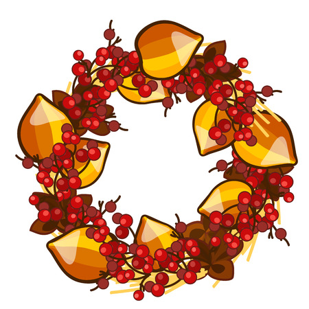 A decorative wreath of dried fruit of physalis and red berries of holly isolated on white background. Vector cartoon close-up illustration