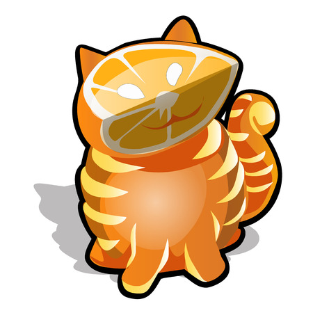 The cat is carved from orange isolated on white background. Vector cartoon close-up illustration  イラスト・ベクター素材