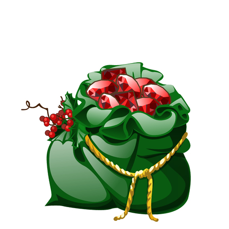 Green velvet sack tied with a golden rope with red berries of holly filled with precious stones rubies isolated on white background. Vector cartoon close-up illustration