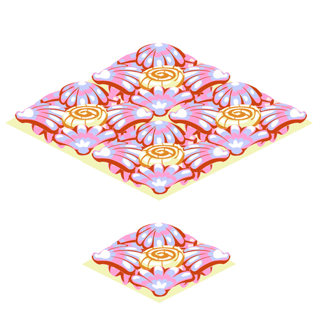 Set of floor tile with texture of pink tropical shells on the sand isolated on white Illustration