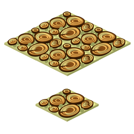 Set of floor tile with texture of wood saw cut isolated on white background. The idea of a garden pathway made of sawmill waste. Vector cartoon close-up illustration
