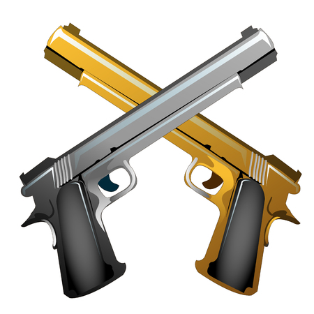 Silver and gold souvenir crossed handguns isolated on white Vetores
