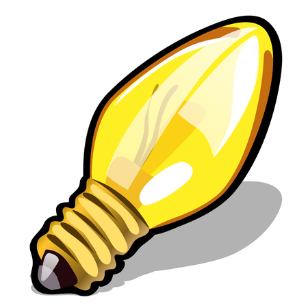 Light bulb yellow color isolated on white background. Vector cartoon close-up illustration
