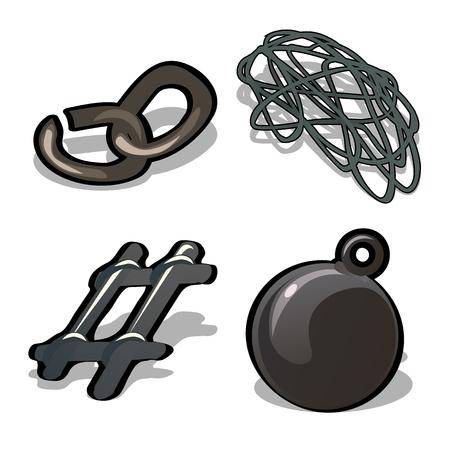 Un ensemble de produits métalliques isolés sur fond blanc. Une chaîne cassée, du fil d'acier, un fragment du treillis et du ballast. Illustration de gros plan de dessin animé de vecteur