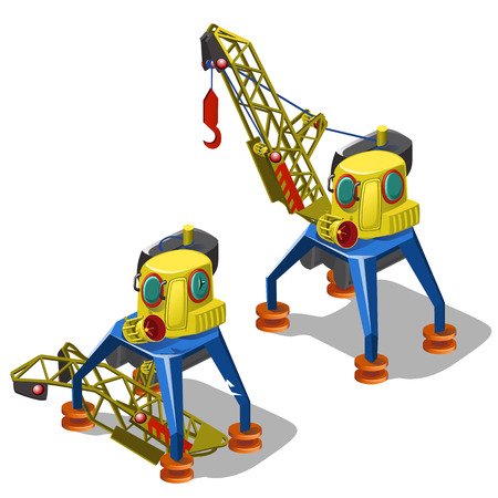 Repair and launch of broken lifting crane isolated on white background. Vector cartoon close-up illustration