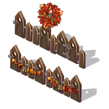 A set of fragments of a wooden fence decorated with fresh autumn fruits and wreath of autumn trees leaves with berries of holly isolated on white background. Vector cartoon close-up illustration Çizim