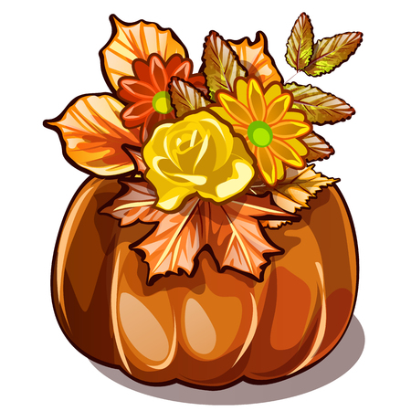 Handmade autumn decor of dried flowers, yellowed leaves of chestnut and maple in natural vase of ripe pumpkin isolated on white background. Vector cartoon close-up illustration