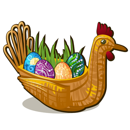 Wicker basket form of chicken bird with set of colorful eastern eggs inlaid with precious stones isolated on white background. Vector cartoon close-up illustration