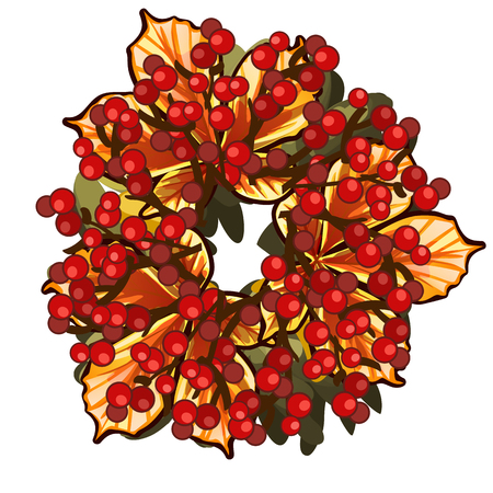 A decorative wreath of dried leaves of chestnut and red berries of holly isolated on white background. Vector cartoon close-up illustration