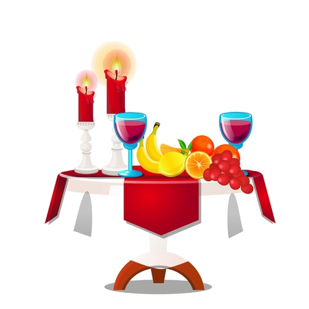 Wooden table with fresh ripe fruit, burning candles and red wine isolated on white background. Vector cartoon close-up illustration
