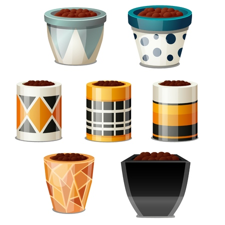 A set of creative design flower pots with soil isolated on white background. Vector cartoon close-up illustration Illustration