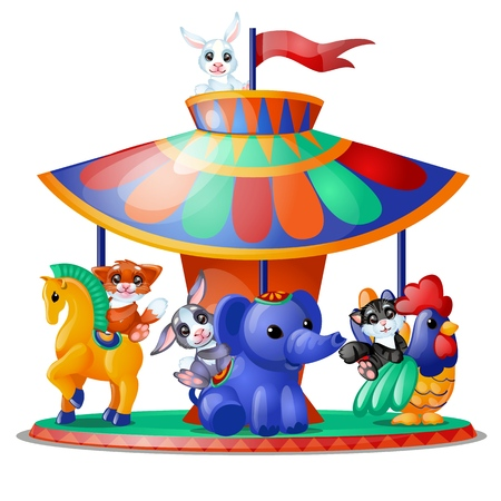 Cute funny animated animals ride the carousel isolated on white background. Merry-go-round. Vector cartoon close-up illustration Ilustração