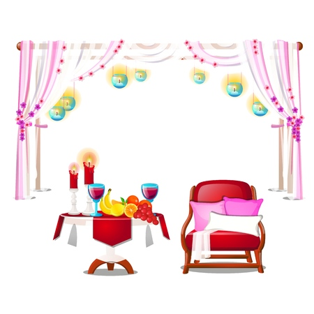 Red armchair with pillows, wooden table with fresh ripe fruit, burning candles and red wine isolated on white background. Vector cartoon close-up illustration Çizim