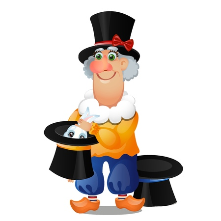 An animated magician pulls a rabbit out of a hat isolated on white background. Vector cartoon close-up illustration