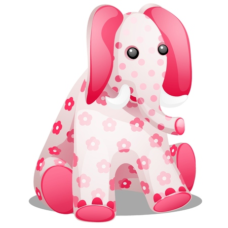 Soft toy in the form of an elephant with a print in the form of flowers isolated on white background. Vector cartoon close-up illustration Çizim