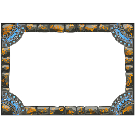 Frame made of grey stones with ancient ornament with space for your text or image isolated on white background. Vector cartoon close-up illustration