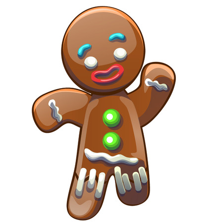 Gingerbread man decorated colored icing isolated on white background. Holiday cookie in shape of boy. Vector cartoon close-up illustration