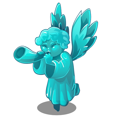 Turquoise figurine in the form of an angel trumpeting a pipe isolated on white background. Vector cartoon close-up illustration