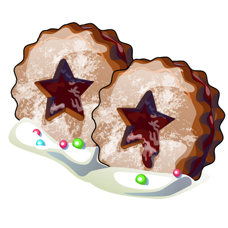 Christmas chocolate cookies with filling in the shape of a star isolated on white background. Vector cartoon close-up illustration