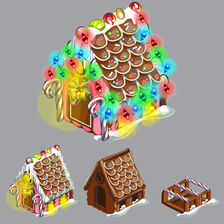 Stage of create of festive cake in shape of village house decorated in Christmas style isolated on grey background. Sweet festive pastries. Gingerbread house. Sketch for greeting card, festive poster Vecteurs